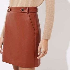 LOFT brown leather mini skirt